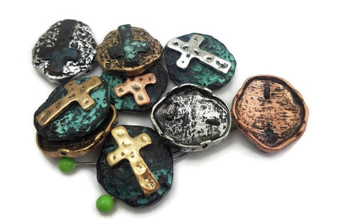 9 Antique Gold, Patina and Silver Cross Slider Beads
