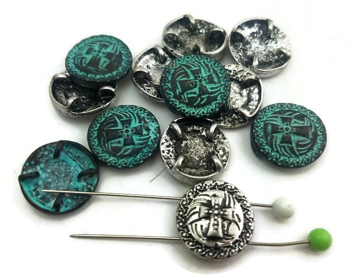 12 Cross Silver and Patina Slider Beads