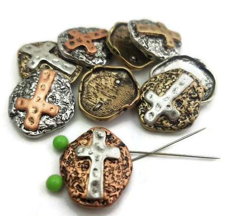 9 Textured Cross Oval Designs Mixed Metal