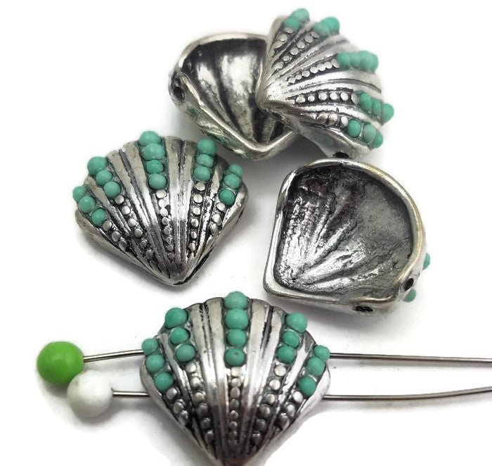 5 Plainum Silver Enamel Drip Seashell Slider Beads