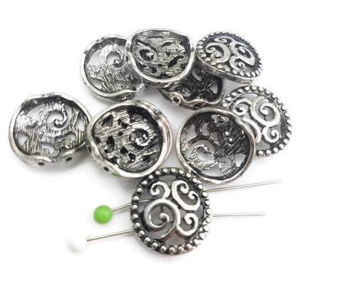 10 Ornate Silver Delicate Round Beads