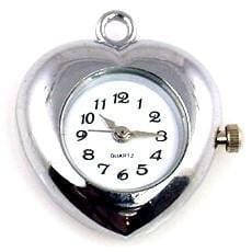 Platinum Silver heart pendant watch face for beading m2134-watch