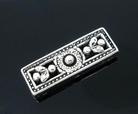 20 antique silver unique slider bead bar bead spacer bars - mobileboutique - 3