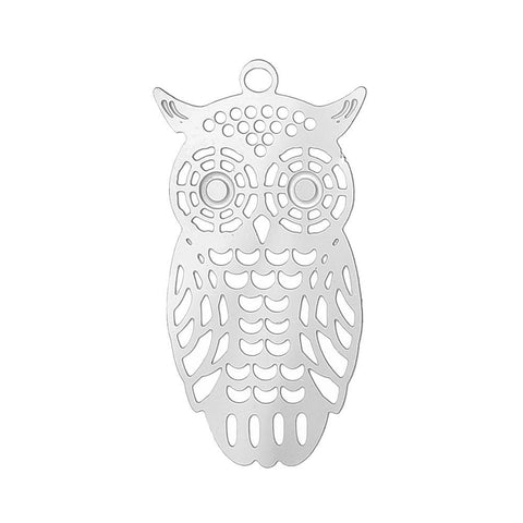 Stainless Steel  20 PCs owl charms
