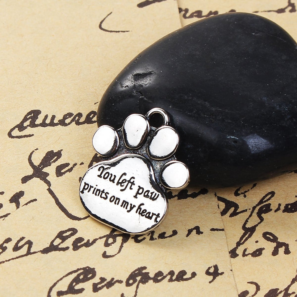 "10PCs Cute Paw Prints with the Message ""You left paw prints on my heart"""