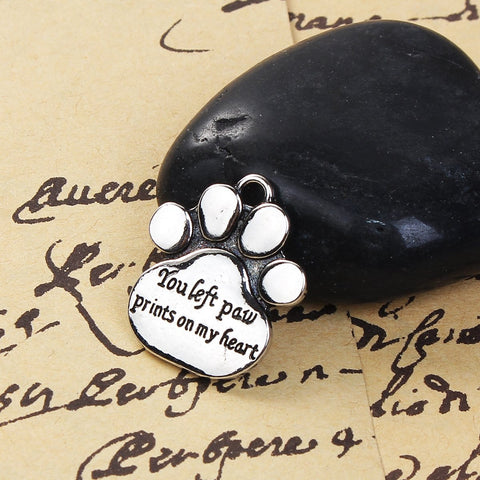 "10PCs ""You left paw print son my heart"" Charms"