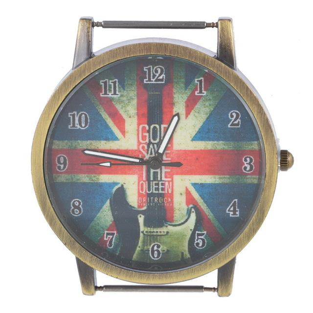 England Flag with Guitar Antique Brass Watch Face for Beading