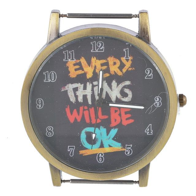 "Antique Brass ""Everything will be Ok"" Bar Style Watch Face"