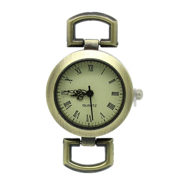 2 Bronze Watch Face Round Simple Loop Ends  3.3cmx2.9cm - mobile-boutique.com