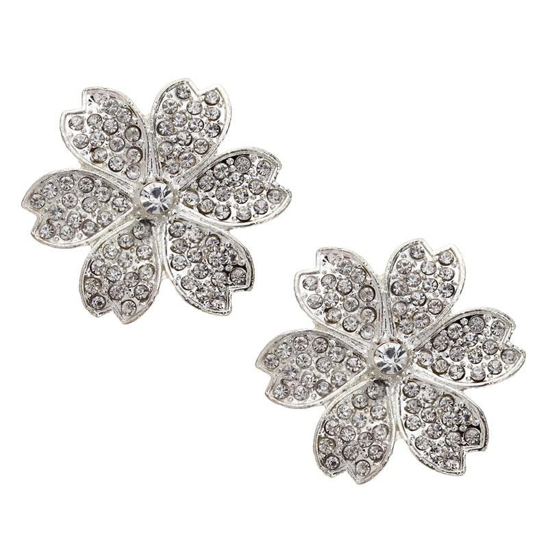 4pcs/lot 45mm Silver Flowerl Rhinestone Connector beads