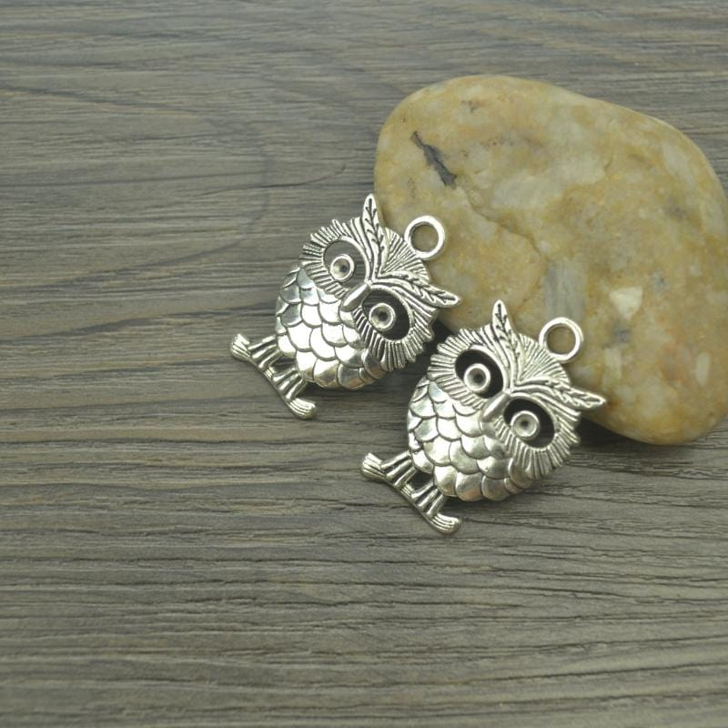 8 pcs/lot owl Antique Silver Charm - mobile-boutique.com