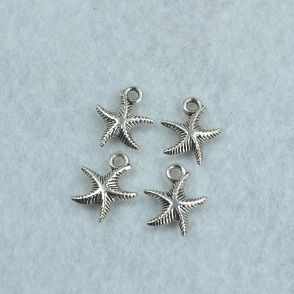 30 pcs Antique Silver Starfish Charms