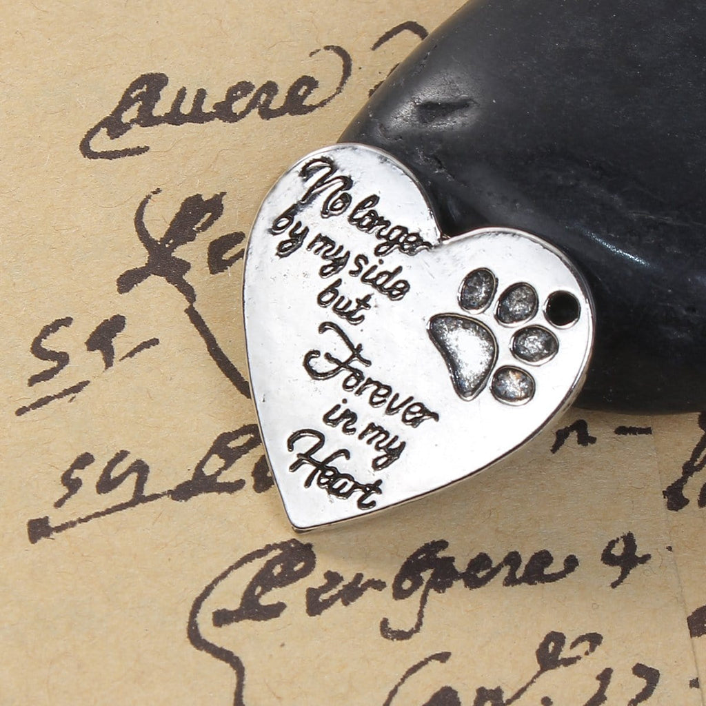 10PCs Heart Antique Silver In Memory Pet Charms 25x25mm - mobile-boutique.com