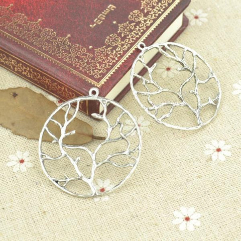 10pcs  Silver Plated tree Charms - mobile-boutique.com