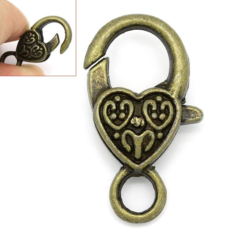 20 Pcs  Heart Bronze Lobster Clasps 26 mm x 14 mm