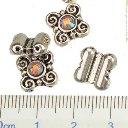 30 antique silver with Clear AB Crystal Centers 10*10*4mm - mobile-boutique.com
