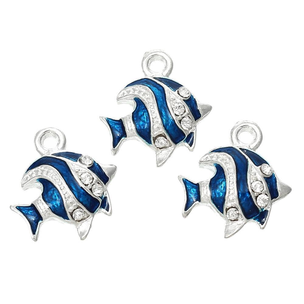Fish silver color Clear Rhinestone Enamel Blue charms  18.0mm x 16.0mm, 5 PCs