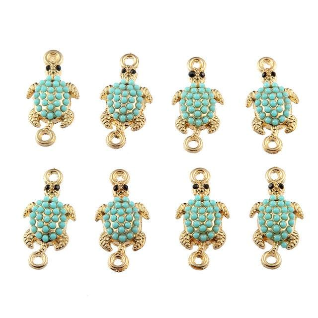 30 pcs Gold Sea Turtle Connector Bead Charms - mobile-boutique.com
