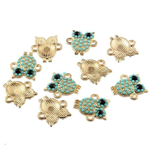 30 pcs Owls Gold and Turquoise Enamel Connector Bead Charms