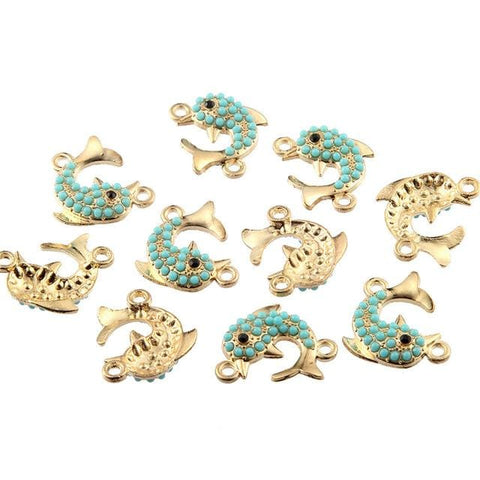 30 pcs Dolphin Gold Connector Enamel Drip Bead Charms
