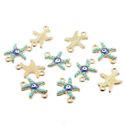 30 pcs Gold Starfish Connector Beads Charms - mobile-boutique.com