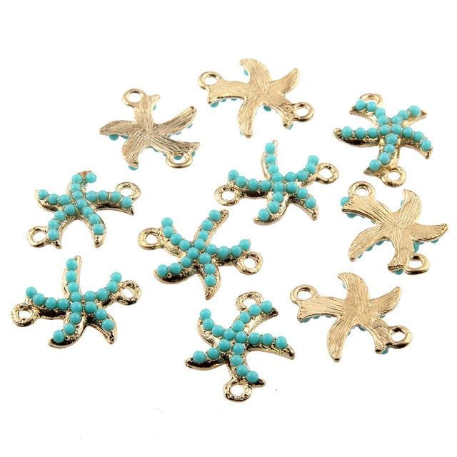 30 pcs Gold Dancing Starfish Connector Beads Charms - mobile-boutique.com