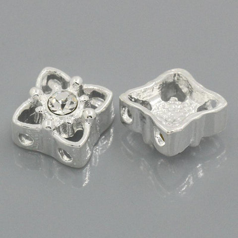"5PCs Spacer Beads Slider With Rhinestone 11mm x 11mm( 3/8""x 3/8"")"