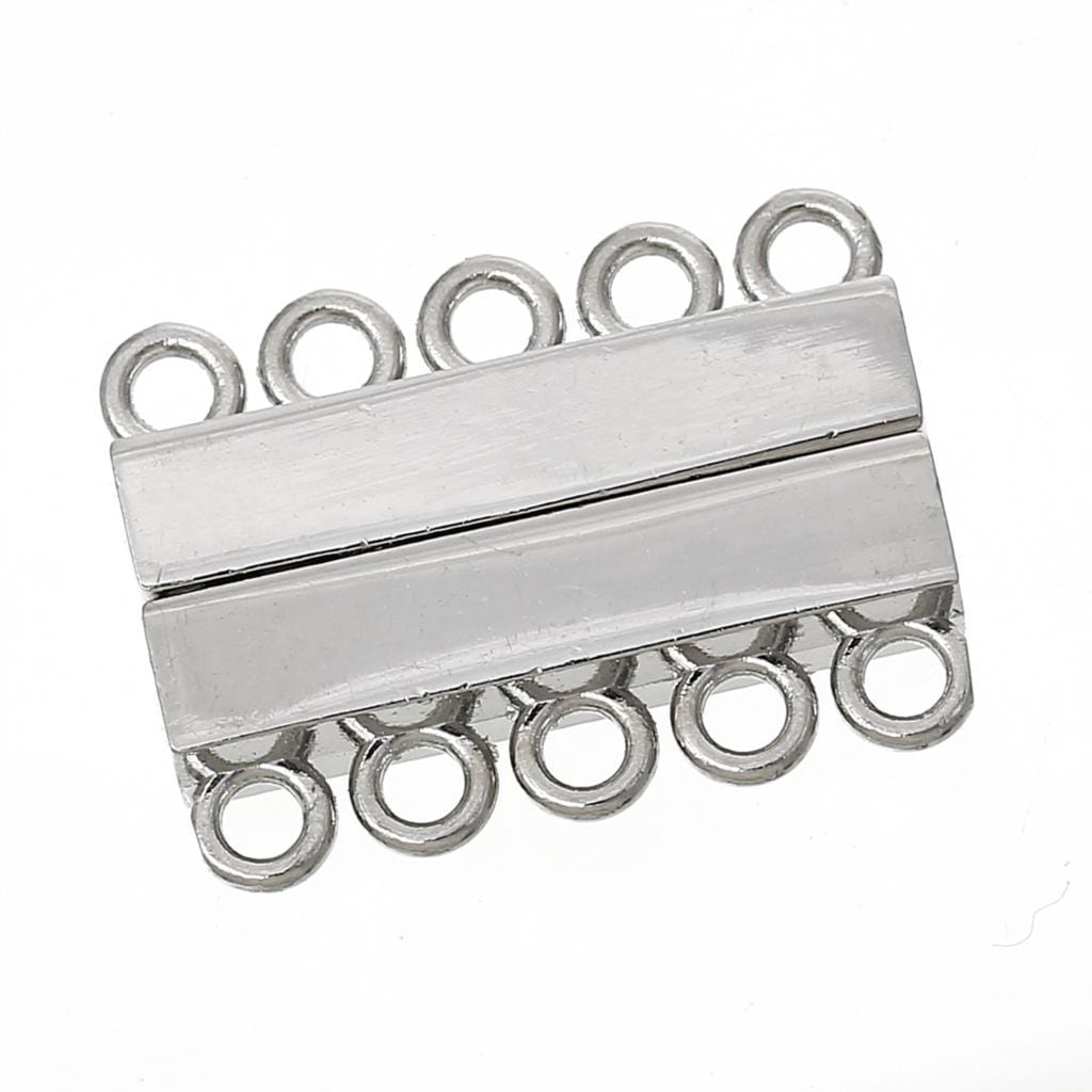 2 sets of Silver Magnetic Clasp 5 Strands 29mm x 22mm - mobile-boutique.com