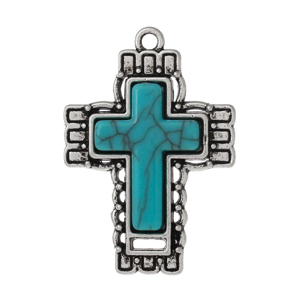 3 PCs Teal stone silver cross