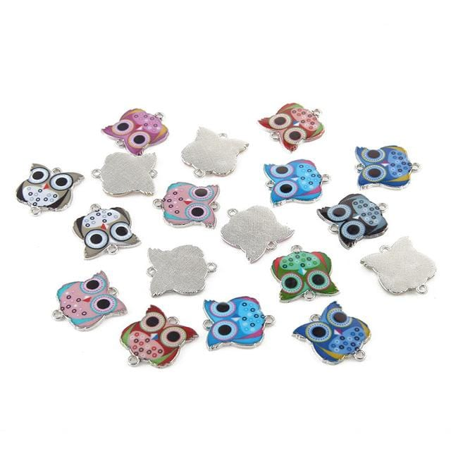 20 pcs of Owls Charms with Beautiful Enamel Designs - mobile-boutique.com