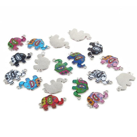 20 pc Mixed Elephant Silver Charm Connector Bead Lot - mobile-boutique.com
