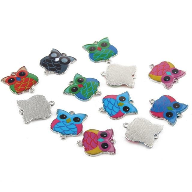 20 pcs of Mixed Enamel Colored Owl Charms - mobile-boutique.com