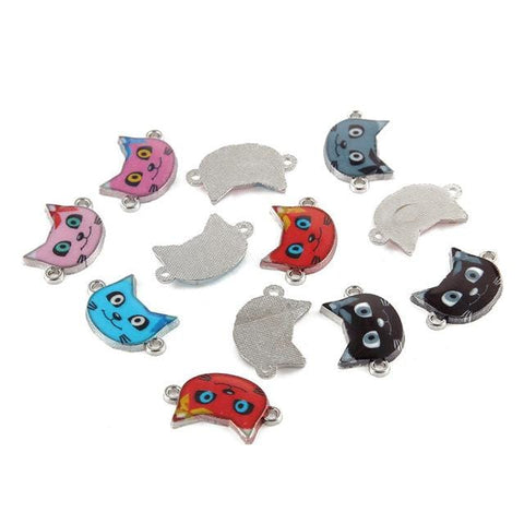 20 Goofy Cat Connector Enamel Bead Charms - mobile-boutique.com