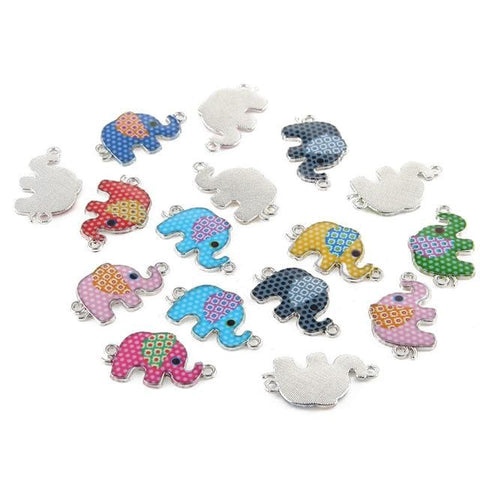 20 pcs of Elephant Enamel charms