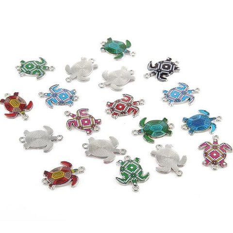 20 pcs of Enamel Turtle Charms Mixed Colors