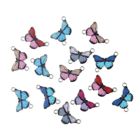 30 pcs of Butterfly Enamel Charms and Connector Beads