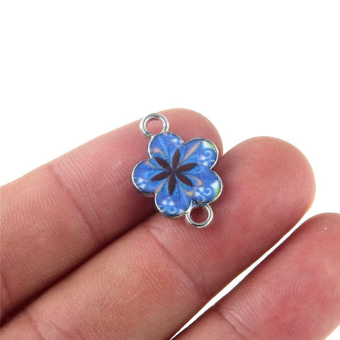 30 pcs of Flower Enamel Charms and Connector Beads