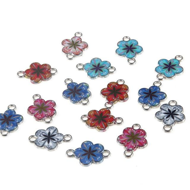 30 pcs of Flower Enamel Charms and Connector Beads - mobile-boutique.com