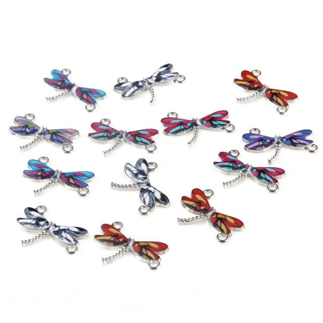 30 pcs of Dragonfly Enamel Charms and Connector Beads - mobile-boutique.com