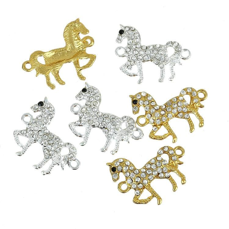 6pcs 3silver 3 gold Unicorn Horse Clear CZ Rhinestone Connector Beads 30*25mm