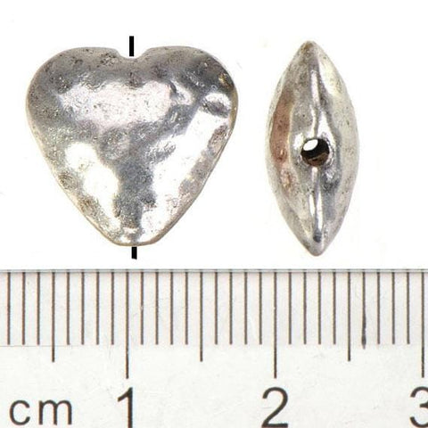 Flat Heart Love Nugget Atnique Silver  13*14mm 20pcs