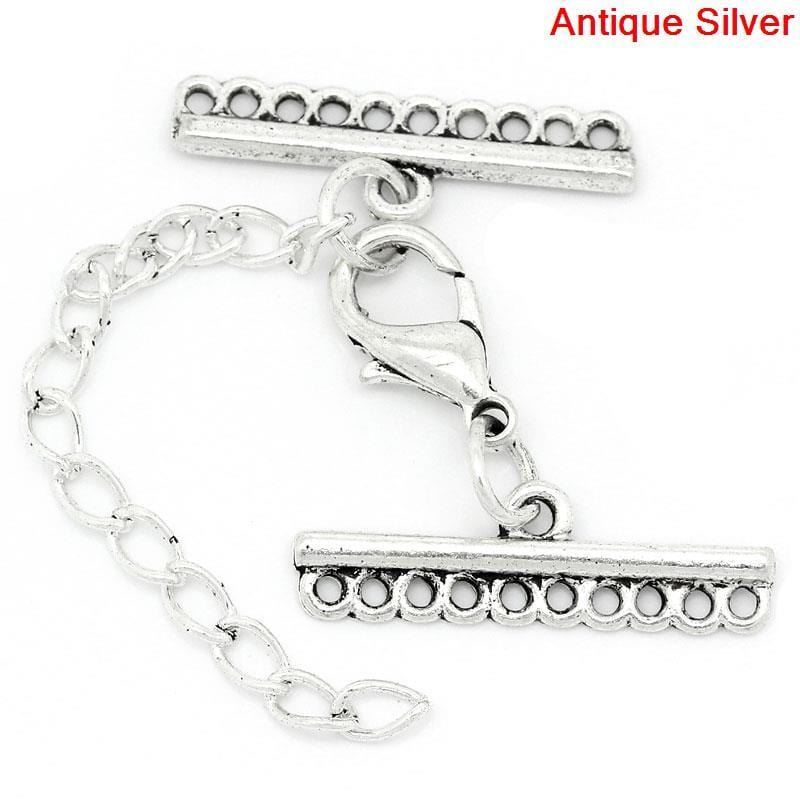 Many Row Lobster Clasp with Extender Chain 10Sets - mobile-boutique.com