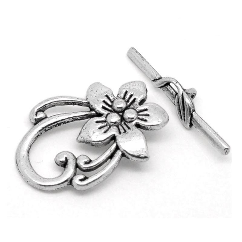 Sets dull silver color Flower Toggle Clasps