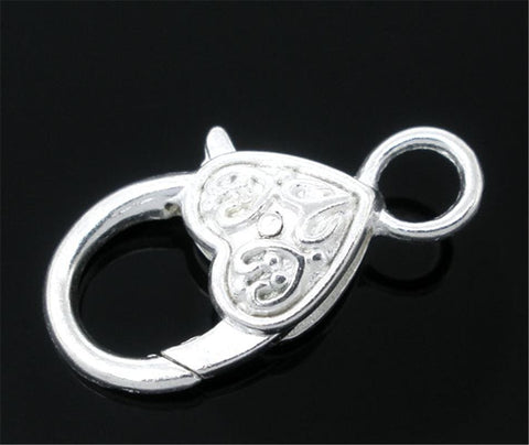 10 Silver color Heart Shape Lobster Clasps