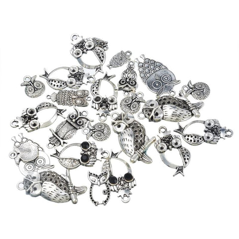 10PCs Vintage Cute Owl Pendant - mobile-boutique.com