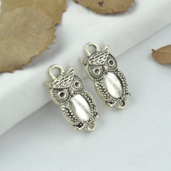 15pcs plated silver owl Charms