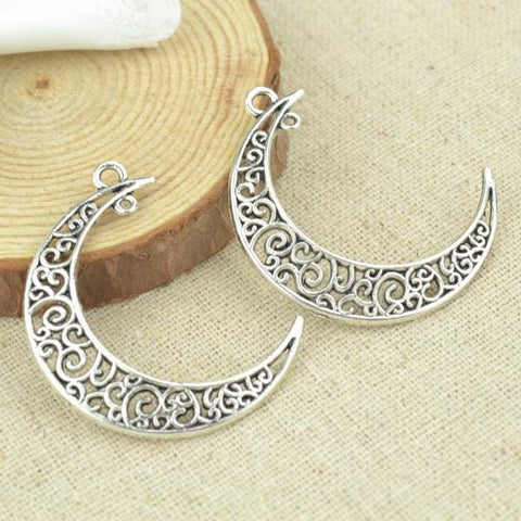 10 pcs Silver moon charms