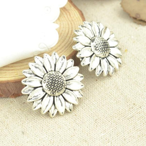 5 Pcs Antique Silver Tone  sunflower Charms - mobile-boutique.com