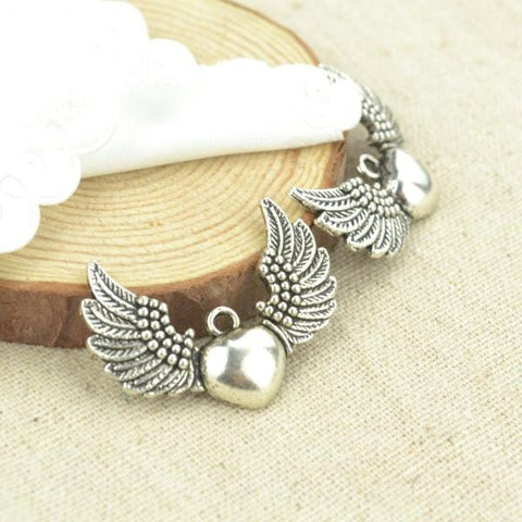 7pcs metal antique silver Plated wing charms