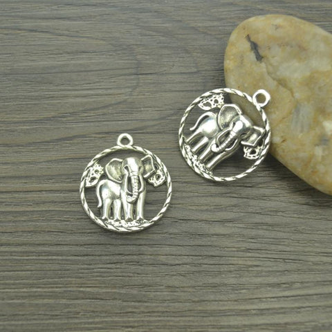 7 pcs/lot Elephant Antique Silver Pendants
